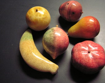 Vintage Italiam Marble Alabaster Fruit  6 pcs.  for your table