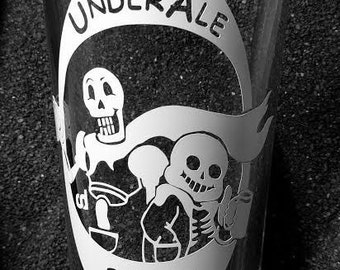 Undertale Pale Ale etched pint glass tumbler