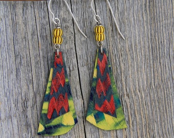 ELECTRIC AVENUE / Wood Earrings / Women's Jewelry / Gifts For Her / Sustainable / Earrings / Acrylic Painting / Art / Art Jewelry