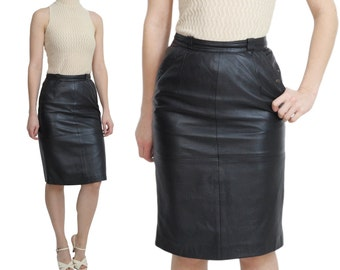 Leather Pencil Skirt | S / M | 80s Vintage Black Leather Skirt With Pockets