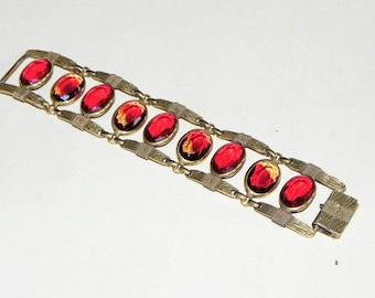 Vintage COROCRAFT Bracelet~Wide Links~Large Oval Amberina Red Stones