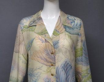 20% OFF 1980s SALVATORE FERRAGAMO silk floral print baroque blouse size 8 80s vintage