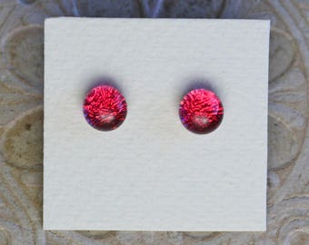 Dichroic Glass Earrings, Deep Pink DGE-977