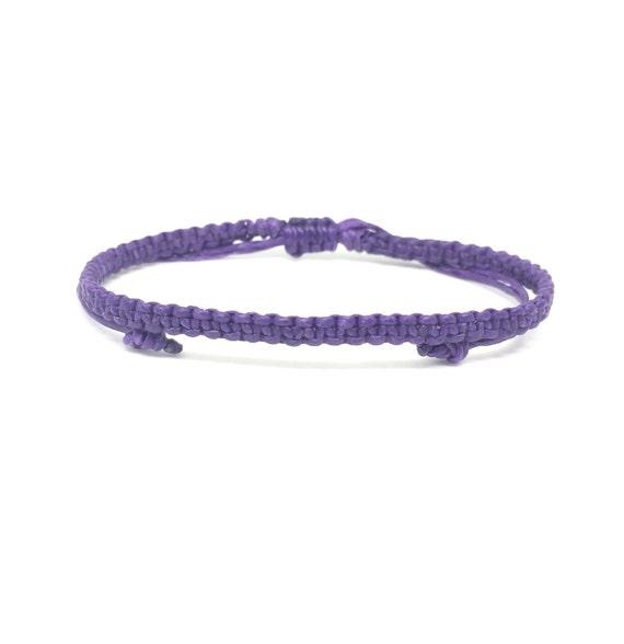Handcrafted Purple Classic Friendship Cotton FAIR TRADE Buddhist Wristband Bracelet