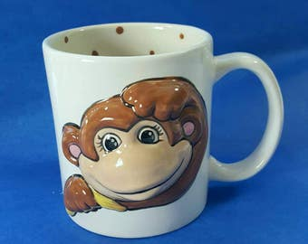 Monkey mug,chimp mug,character mug,child mug, kids mug,child gift,personalized mug,birthday gift,gift for boy,gift for girl,hand painted mug