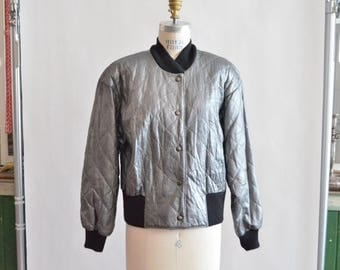 30% OFF storewide // Vintage QUILTED metallic leather jacket