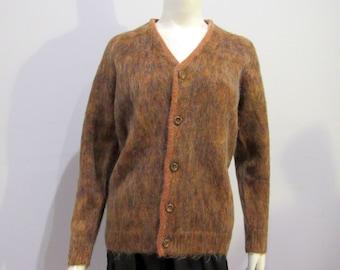 Mohair brown & orange fuzzy shaggy 50s 60s mod boho chic Wool Cardigan mens size medium Sky Brand