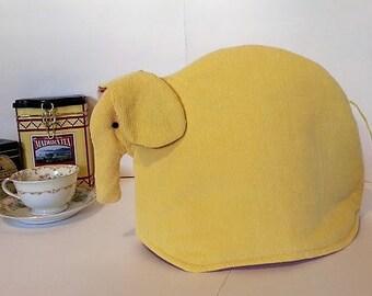 Elephant tea cozy, tea cosy: Elizabeth the yellow corduroy elephant tea cozy
