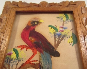Vintage Feather Art Bird Hecho en Mexico Carved Wood Frame Colorful Hand Painted