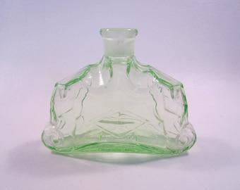 Vintage Green Perfume Bottle Deco Pressed Glass Japan