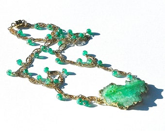 Chrysoprase Emerald Druzy Gold Necklace / 14k Gold / Mystic Green Quartz / Wire Wrapped / Focal Pendant / Gold Vermeil / Gifts for Her
