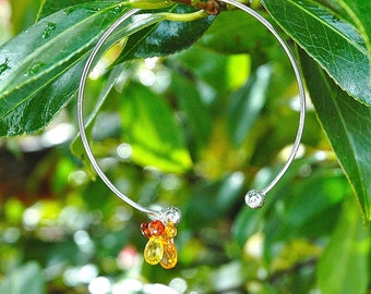 "Sterling Silver ""Citrus"" Cuff Bangle / Quartz Charm Bracelet / Yellow / Orange / Peach / Wire Wrapped / Adjustable / Gifts for Her / OOAK"