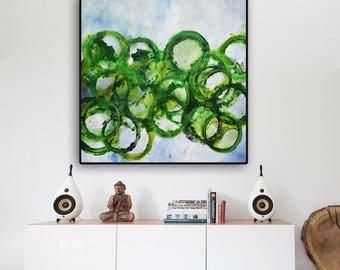 abstract painting, green print, green abstract painting, green abstract art, square painting, huge print, green circles, canvas print