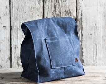 Marlowe Lunch Bag in Rook, Waxed Canvas Lunch Tote, Waxed Canvas Bag, Eco-friendly, Classic Waxed Canvas Bag, Canvas Lunch Bag, For Him