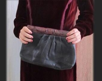 Soft Leather Clutch, Paisley Trim, Optional Skinny Strap, Vintage 70s 80s Purse