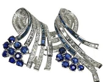 30% Off Winter Sale Sapphire diamond double clip dress platinum 3.37ct brilliant cut diamonds