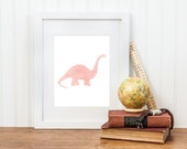 Girl Dinosaur Printable - Watercolor Brachiosaurus Print - Girl Dinosaur Decor - Digital Download - Girl Dinosaur Room