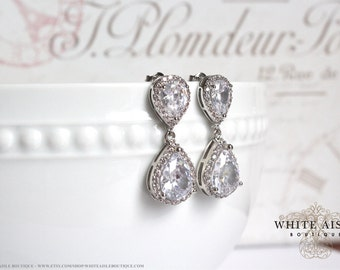 Wedding Jewelry Bridal Earrings Faceted Cubic Zirconia Tear Drop Crystal Earrings Crystal Earrings Wedding Earrings