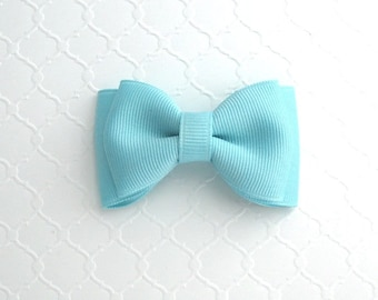"""Pastel Baby Blue Hair Bow ~ 3"""" Baby Toddler Girls Simple Classic Hair Bows"""