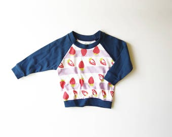SALE | 25% OFF | Size 2T | Strawberries | Organic Cotton Long Sleeve Raglan | Pink Navy and Lavender | Baby Girl