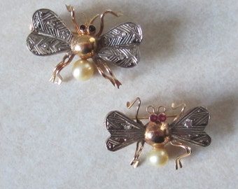 REDUCED Antique White and Yellow 14K Gold Ruby Diamond and Pearl Bee Brooch