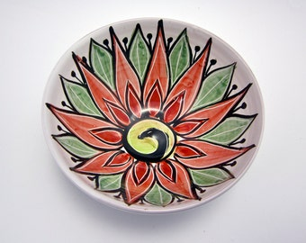 Ceramic Serving Bowl - Red Green White Lotus Flower - Majolica Bowl - Kitchen Bowl - Clay Bowl - Mandala Pattern - Decorative - Gift for Mom