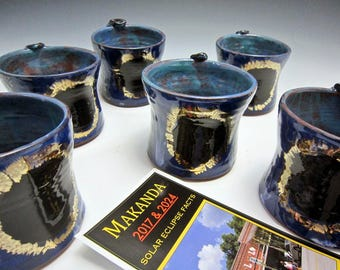 Total Solar Eclipse Ceramic Coffee Mug - Blue Black - Pottery Tea Cup - Coffee Cup - Commemorative Limited Edition - Makanda - 12 ounce mug