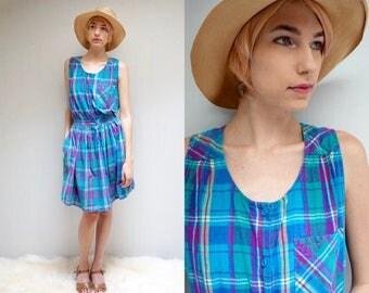 India Cotton Dress  //  Plaid Cotton Dress  //  Madras Plaid SunDress  //  MALU MALU