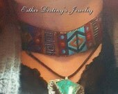 Blue & Red Bohemian Style Choker, Hippie, Gypsy, Gift for Her, Gifts under 20