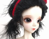 """Black size 8-9"""" BJD wig Tibetan lambswool for SD ball jointed dolls"""