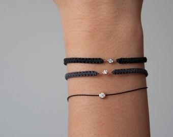 Solo Diamond Bracelet on Cord, adjustable bracelet, diamond solitaire