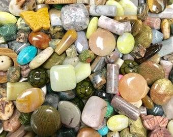 Huge Mixed Stone Bead Assortment, Half Pound Bead Mix, Approx. 100 Beads, Mixed Stone Bead Lot