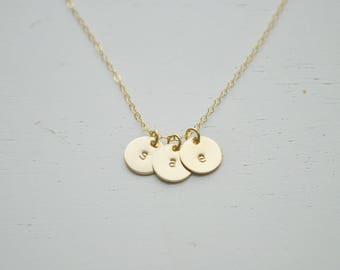 CUSTOM Three Gold Disc Necklace - no letters only symbols