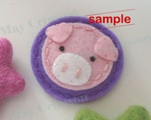Felt hair clip -No slip -Wool felt -Pig -lavender SAMPLE