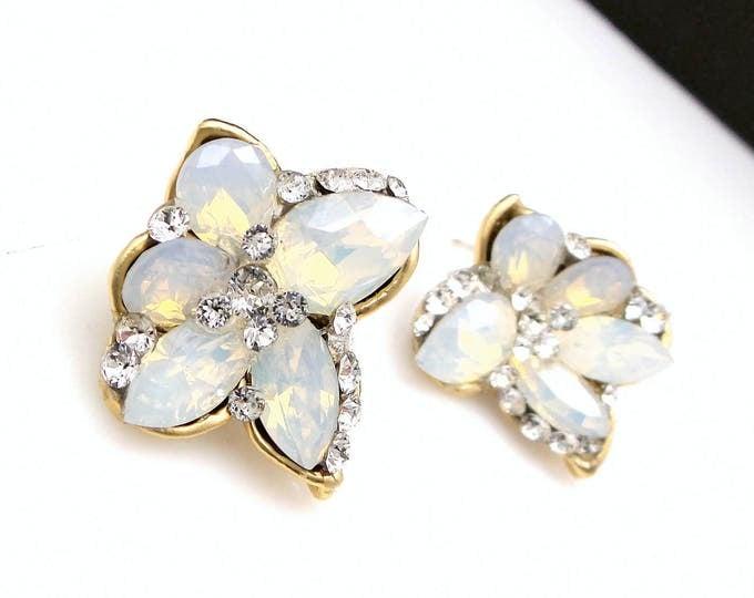 Christmas Bridesmaid gift bridal party wedding prom jewelry swarovski crystal white opal rhinestones multi shape post earrings gold stud