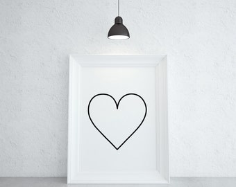 Heart Print, Minimal Heart Wall Art, Minimal Poster, Large Wall Art, Oversized Art, Minimal Home Decor,Black and White, Trending Now