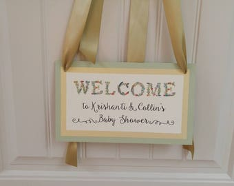 Baby Shower Welcome Sign Vintage Floral and Vine Design Charming Way to Greet your Guests to your Baby Girl or Boy Shower Decor