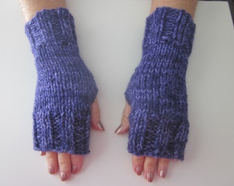 Hand Knit Bulky Fingerless Mittens/Texting Gloves - Amethyst-Purple Medium Weight Mittens