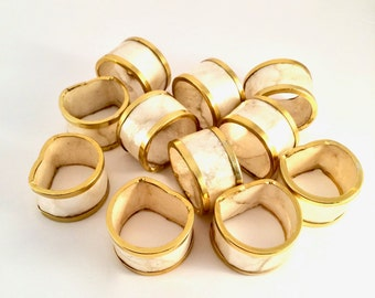 Capiz Napkin Rings / Nautical Shell Capiz and gold napkin rings