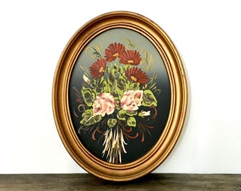 Floral Oil Painting in Oval Gold frame