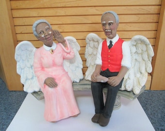 Angel Grandparent Grannies on Bench