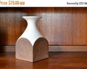 SALE 25% OFF vintage midcentury modern brown and white ceramic vase / modern home decor / midcentury italian pottery