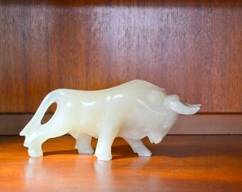 vintage mid-century marble bull figurine / stone bull figurine / modern home decor