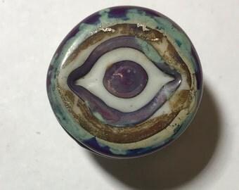 Ancient Evil Eye Lampwork Glass, Button