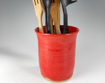 Ceramic utensil holder, kitchen utensil holder pot, stoneware utensils pot , pottery utensil holder, red kitchen utensil jar, ceramic vase