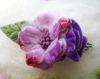 Velvet Rose Hair Clip Lavender Velvet Flowers Leaves Buds Hair Accessory Fantasy Clip Whimsical Fairytale Velvet Rose Hair Clip Handmade