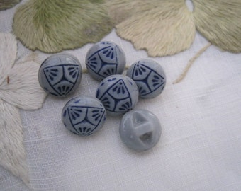 Vintage Lot of 6 Tiny Gray and Blue Painted Glass Buttons Dolls