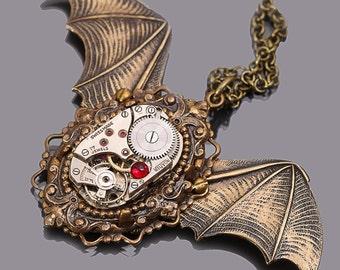 Bat Wings Bat Necklace Bat Pendant Bat Jewelry Halloween Gothic