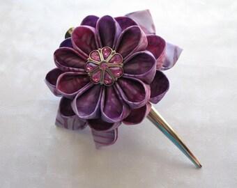 Love of Lavender Kanzashi Flower Hair Clip