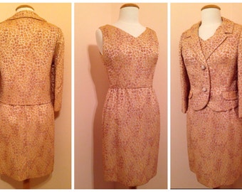 50s Wiggle Rockabilly Dress / Pin Up Style Vintage / Matching Jacket / Gold Beige Cream Colors